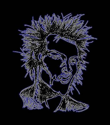 Sid Vicious Digital Art - Sid Vicious Of The Sex Pistols Neon by GOP Art