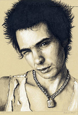 Drawing - Sid Vicious by Rob De Vries