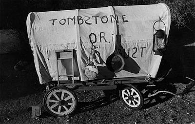 Thomas Kinkade Royalty Free Images - Sid Wilsons Tombstone or bust miniature wagon Pick em Up Ranch Tombstone Arizona 1981 Royalty-Free Image by David Lee Guss