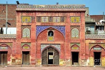 Photograph - Side Arch With Kashikari Frescoes And Tiles Wazir Khan Mosque Lahore Pakistan by Imran Ahmed