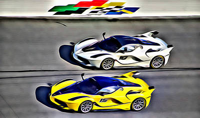 Photograph - Side By Side Ferraris by Alice Gipson