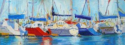 Impressionistic Sailboats Painting - Side By Side by Margaret  Plumb