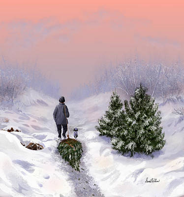 Winterscape Painting - Side By Side by Sena Wilson