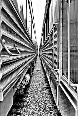 Train Photograph - Side By Side Train Cars by Larry Jost