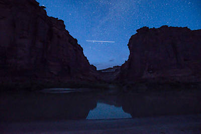 International Space Station Photograph - International Space Station Trail - Passing Between The Canyon by Matthew Lit