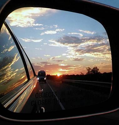 Digital Art - Side Mirror Sunset by Ellen Barron O'Reilly