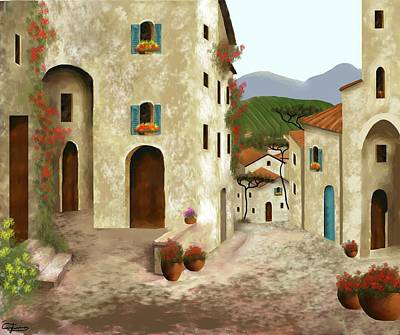 Painting - side streets of Tuscany by Larry Cirigliano