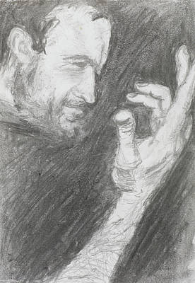 Hand Crafted Drawing - Side View Of Man Portrait, Pencil Technique by Dan Comaniciu