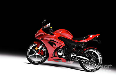 Photograph - Side View Of Red Sports Motorcycle In A Spotlight by Michal Bednarek
