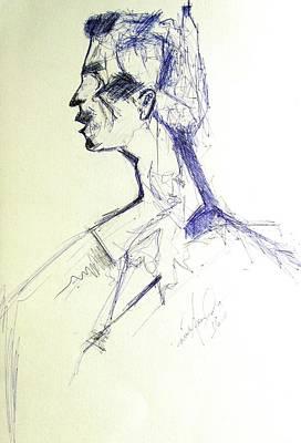Ball Pen Work Painting - ''side View Portrait'' by Nishasunanda Art