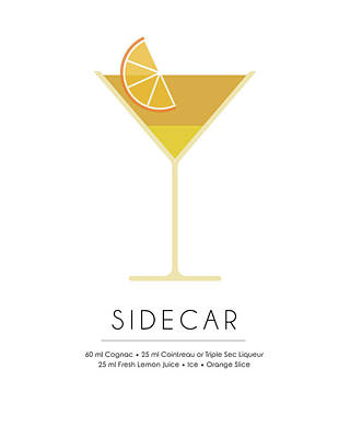 Champagne Mixed Media - Sidecar Classic Cocktail Minimalist Print by Studio Grafiikka