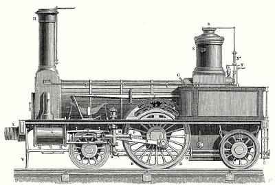 Nineteenth Century Drawing - Sideview Of An Old Fashioned Locomotive Showing The Mechanism Of The Engine by English School
