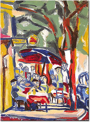 Painting - Sidewalk Cafe At The Corner by Nancy Rourke