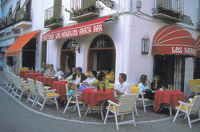 Snack Bar Photograph - Sidewalk Cafe In Cacares Spain by Carl Purcell