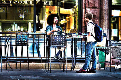 Photograph - Sidewalk Cafe Patrons by David Ralph Johnson