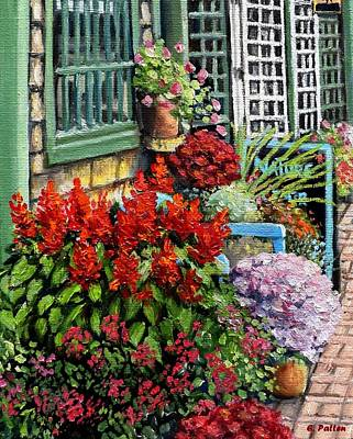 Store Fronts Painting - Sidewalk In Bar Harbor by Eileen Patten Oliver