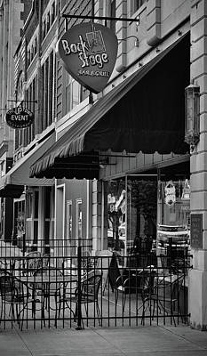 Photograph - Sidewalk Respite - Bar And Grill - Bw by Greg Jackson