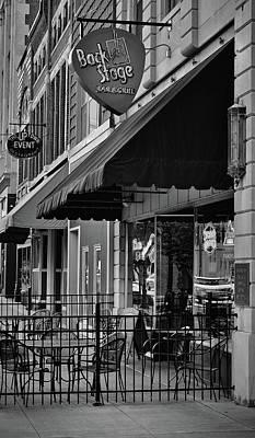 Photograph - Sidewalk Respite - Bar And Grill - Bw by Greg Jackson