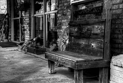 Photograph - Sidewalk Wooden Bench In Black And White by Ester Rogers