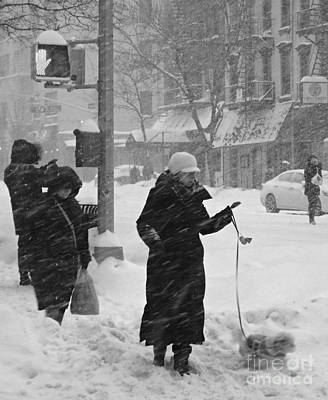 Photograph - Sidewalks Of New York - Winter Storm by Miriam Danar