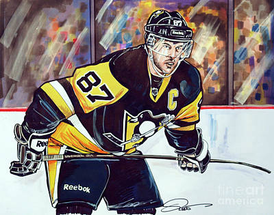 Nhl Hockey Drawing - Sidney Crosby 2016 Nhl Stanley Cup  Playoffs by Dave Olsen