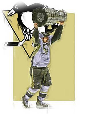 Mixed Media - Sidney Crosby Pittsburgh Penguins Oil Art 2 by Joe Hamilton