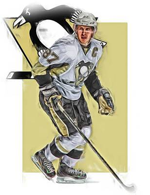 Mixed Media - Sidney Crosby Pittsburgh Penguins Oil Art by Joe Hamilton