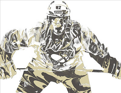 Penguin Mixed Media - Sidney Crosby Pittsburgh Penguins Pixel Art 12 by Joe Hamilton