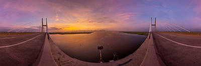 Island Stays Photograph - Sidney Lanier Bridge Twilight Panorama by Chris Bordeleau