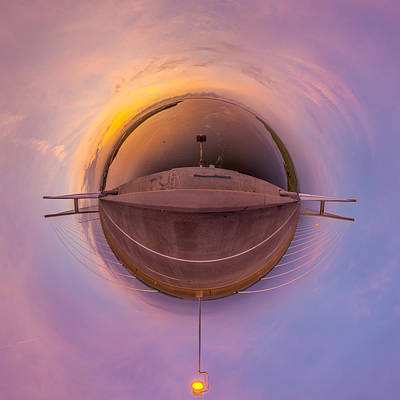 Photograph - Sidney Lanier Bridge Twilight Tiny Planet  by Chris Bordeleau