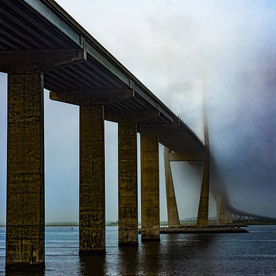 Photograph - Sidney Lanier Bridge Under Fog - Square by Chris Bordeleau