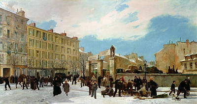 Winter Scenes Painting - Siege Of Paris by Jacques Guiaud