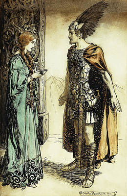 Siegfried Meets Gutrune Art Print by Arthur Rackham