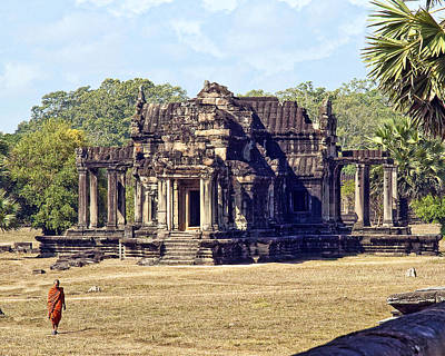 Siem Reap With Monk Art Print
