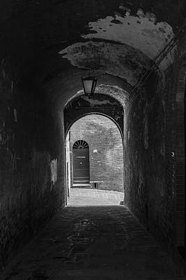 Photograph - Siena Alley Black And White  by John McGraw