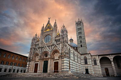 Photograph - Siena Cathedral In An Overcast Day by Songquan Deng