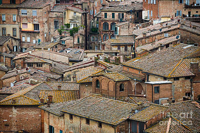 Photograph - Siena Colored Roofs And Walls In Aerial View by IPics Photography