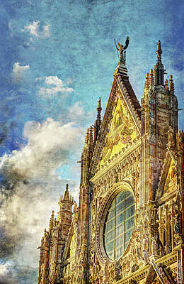 Photograph - Siena Duomo Facade In The Sunset by Weston Westmoreland