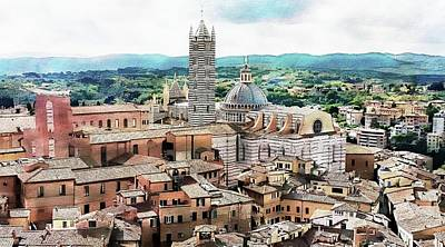 Digital Art - Siena Duomo From The Torre Del Mangia by Joseph Hendrix