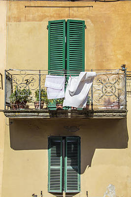 Photograph - Siena Green Shutters And Laundy  by John McGraw