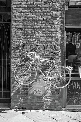 Photograph - Siena Italy Bike On Wall  by John McGraw