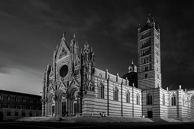 Tuscan Dusk Photograph - Siena Italy Cathedral Bw by Joan Carroll
