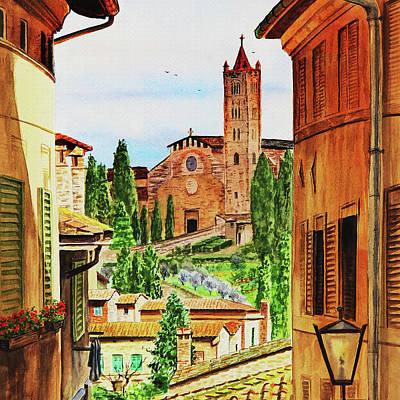 Siena Wall Art - Painting - Siena Italy Church Of Santa Maria Dei Servi Watercolor by Irina Sztukowski