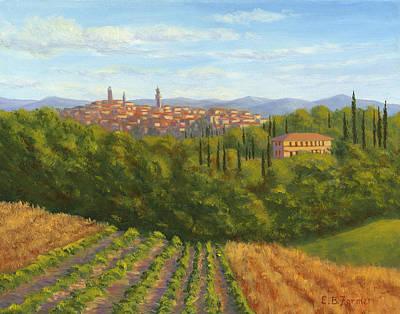 Villa Painting - Siena Italy From The Villa by Elaine Farmer