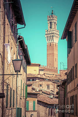 Photograph - Siena, Italy. Mangia Tower, Italian Torre Del Mangia. Tuscany Region. Vintage by Michal Bednarek