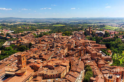 Ancient Photograph - Siena, Italy Panoramic Rooftop City View by Michal Bednarek