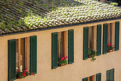 Photograph - Siena Italy Roof And Green Shutters  by John McGraw