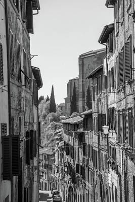 Photograph - Siena Italy Street Black And White  by John McGraw