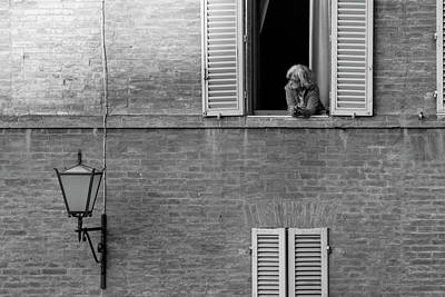 Photograph - Siena Italy Woman And Window  by John McGraw