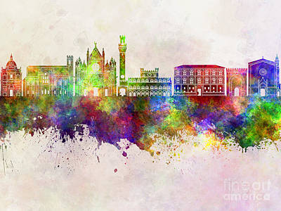 Siena Italy Painting - Siena Skyline In Watercolor Background by Pablo Romero